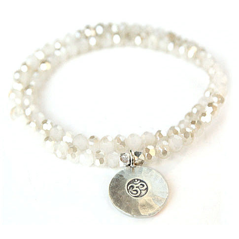 Kristall Armband mit Silber Om, doppelt - opal