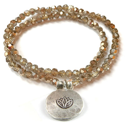 Kristall Armband mit Silber Lotus, doppelt - gold