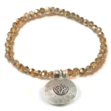 Load image into Gallery viewer, Kristall Armband mit Silber Lotus - gold