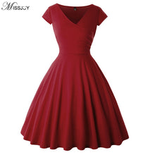 Load image into Gallery viewer, Vintage Pin-Up Cap Sleeve V-Neck Swing Dress