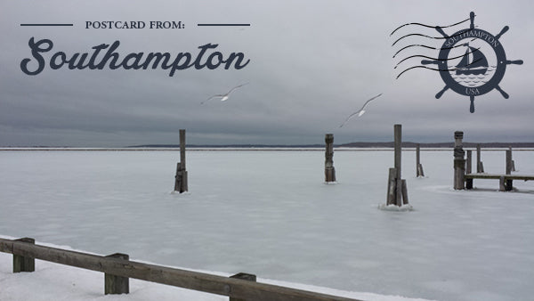 Postcard from Southampton showing a frozen dock.