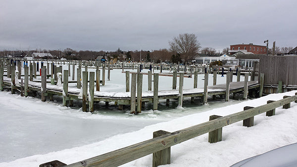 Frozen dock at Southampton.