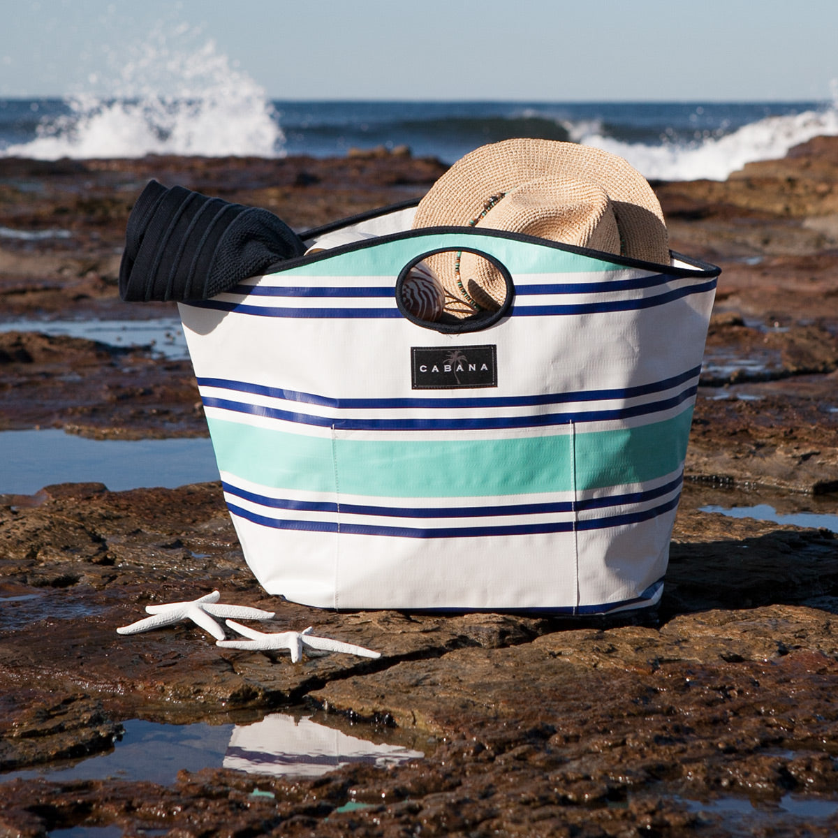 Beach Bag Nantucket Aqua and Blue.