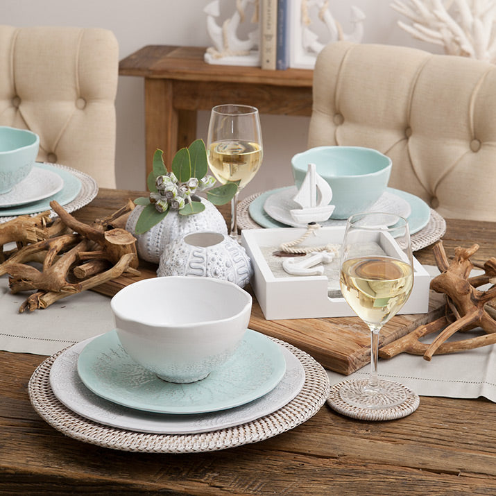 A coastal table setting using our Bianco plates.