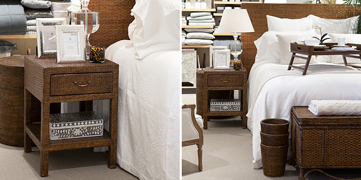 Rattan furiniture and white coral bedding.