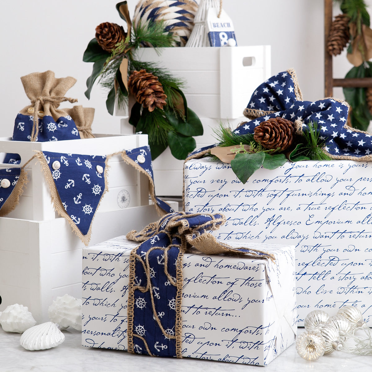 Blue and white wrapped gifts.