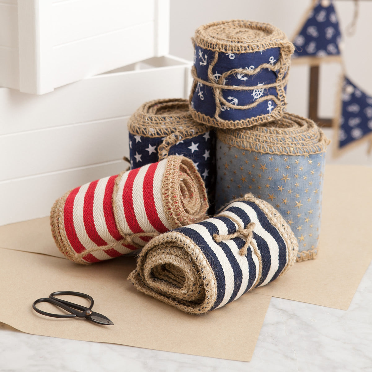 Hessian ribbon for wrapping gifts.