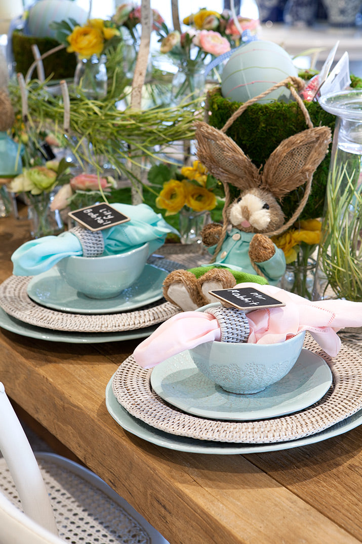 Cute Easter Table with bunnies and soft pastels.