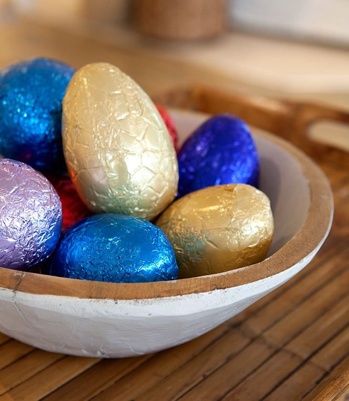 Chocolate Easter Eggs stored in a bowl.