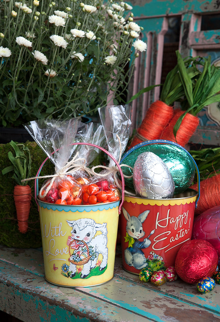 Vintage look buckets perfect for an Easter hunt.