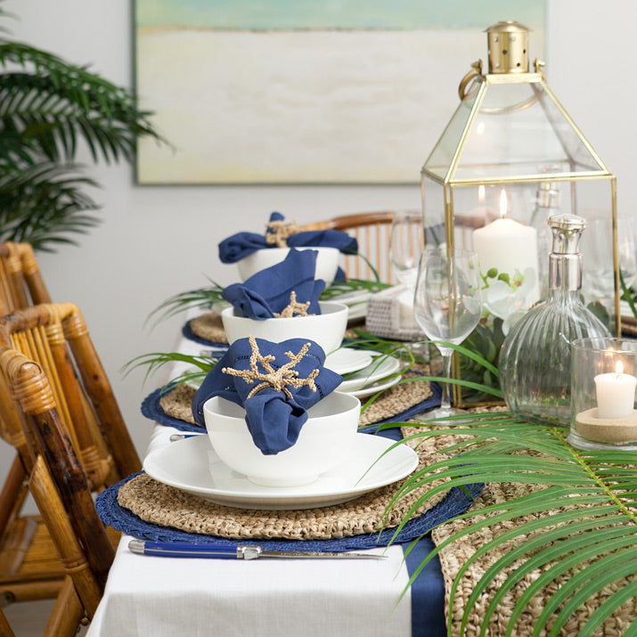 Island inspired navy table setting.