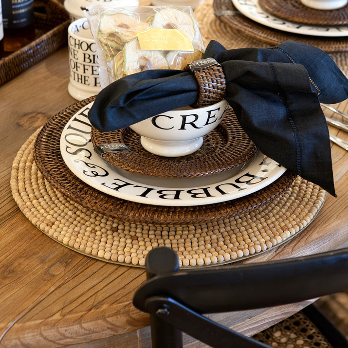 Country style table setting close up.