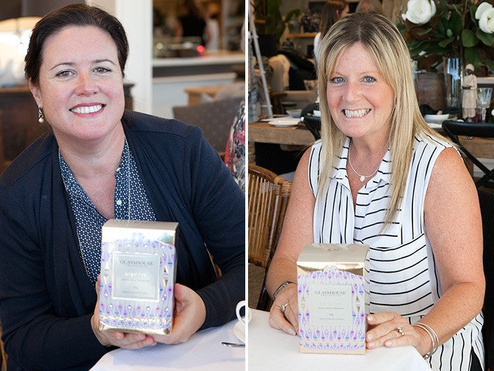 Sarah and Penny with their Glasshouse candle prizes.