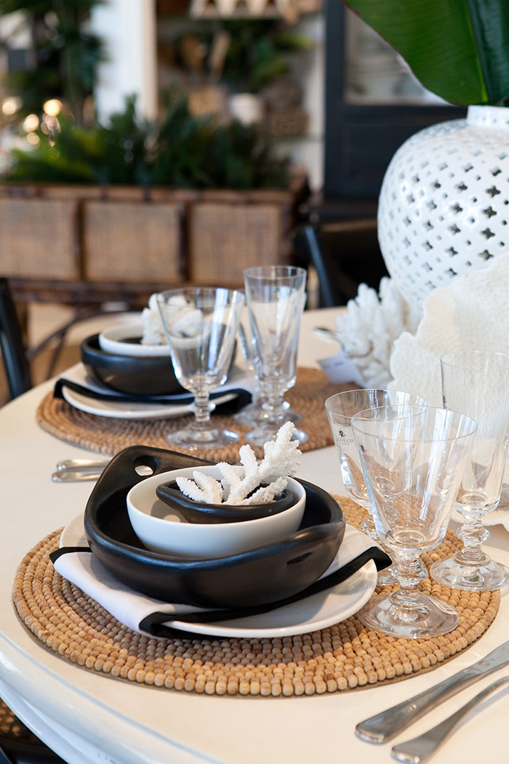 Close up of our black and white dinning table.