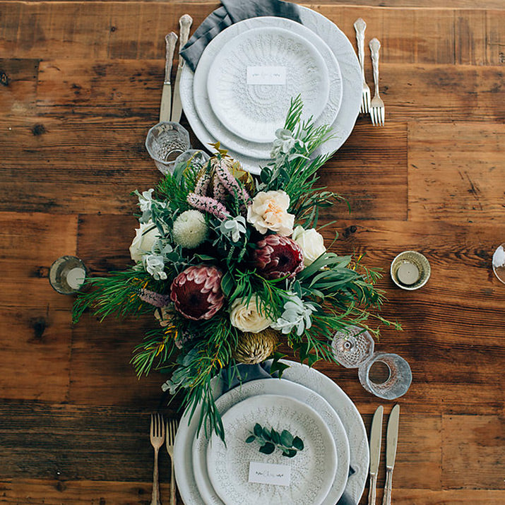 Bianco plates styled with Australian native flowers.