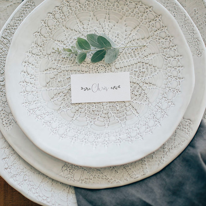 Bianco Plates with name tag.