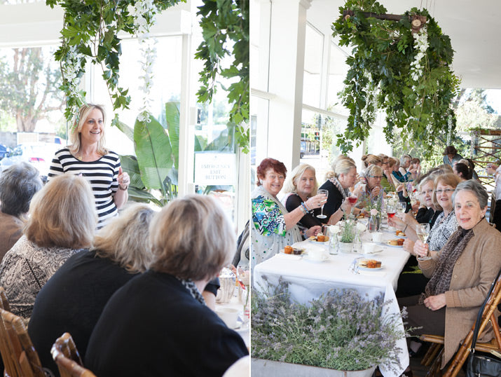 Janelle Bloom left and ladies at our High Tea.