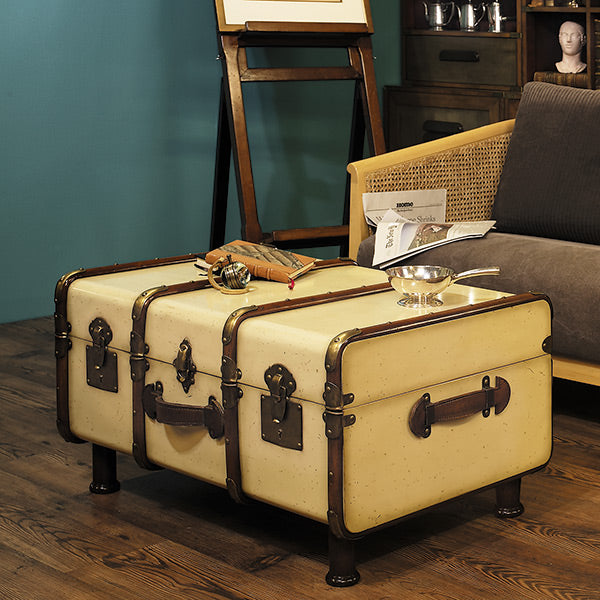 Vintage look trunk with metal hardware.