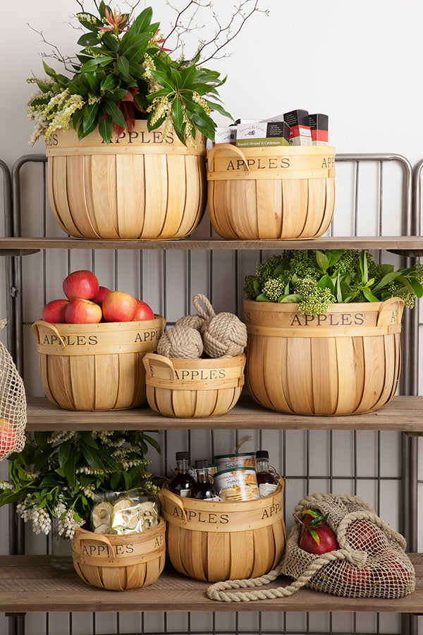 Timber Apple Tubs arranged on industrial shelves.
