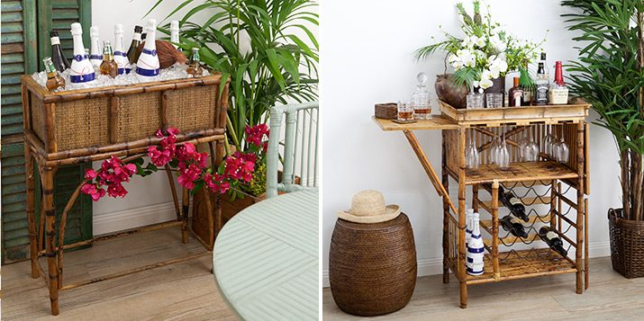 Bamboo ice bucket & bamboo bar table.