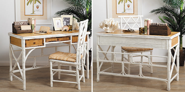 Tropical feel bamboo desk in natural and white.