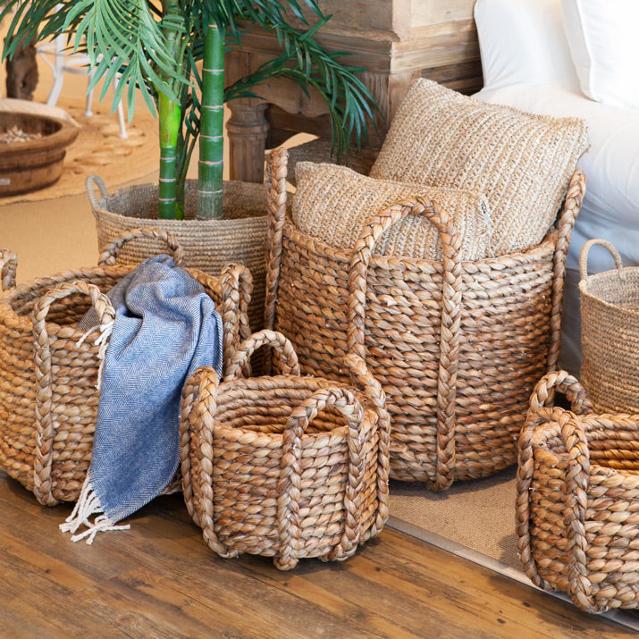 Seagrass baskets with palm tree.