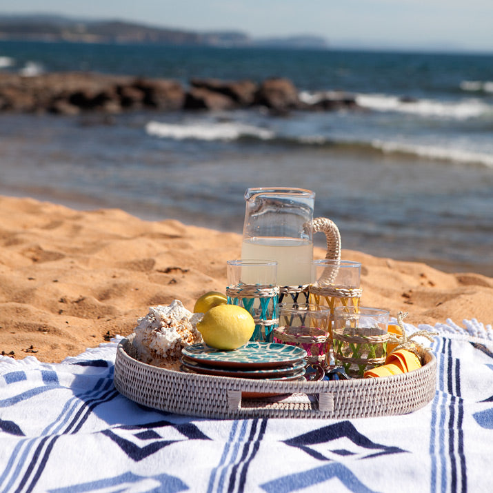Drinks tray at the beach.
