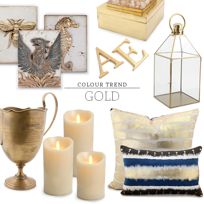 A compilation of gold products.