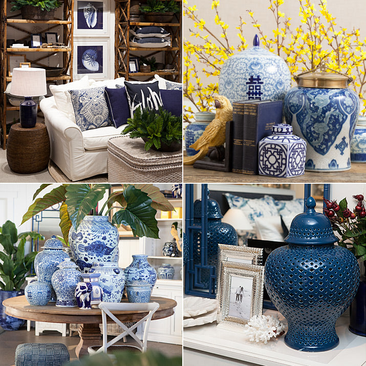 A selection of blue & white styled photos.