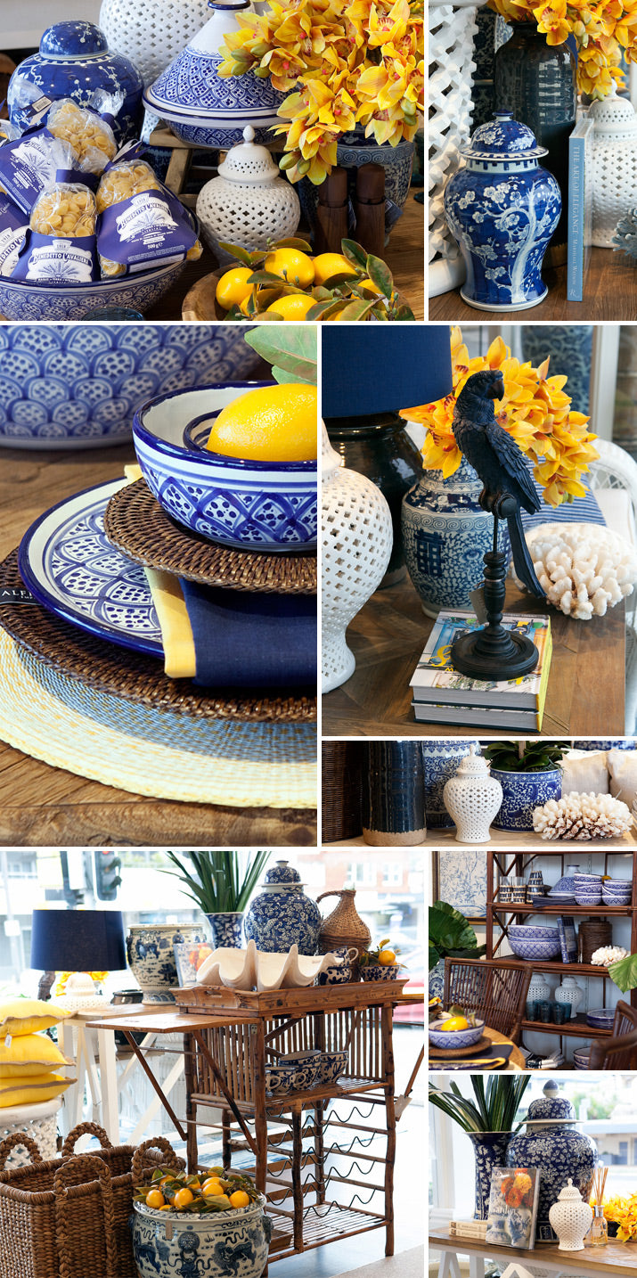 A mix of blue, white and yellow decor.