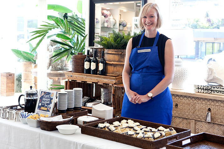 Leana in serving the scones.
