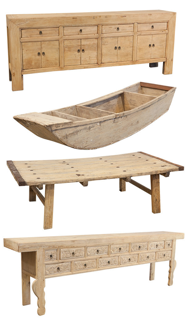 Bohai consoles, coffee table and boat.
