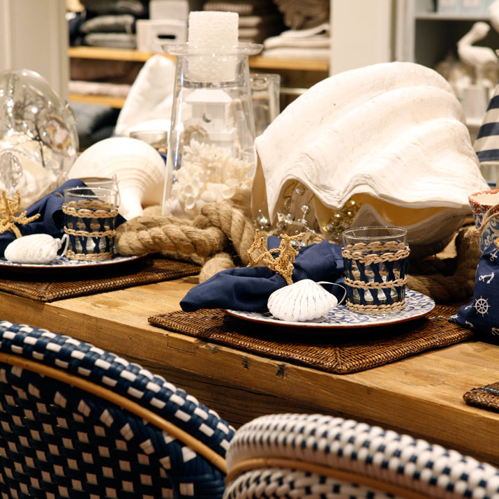 Blue and white coastal table.