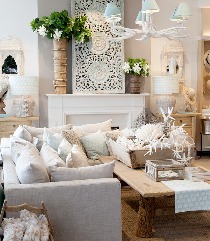 Living room in soft coastal colours.