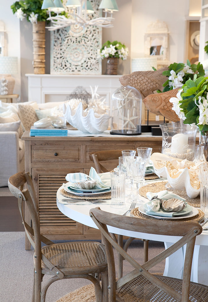 Coastal style dining table.