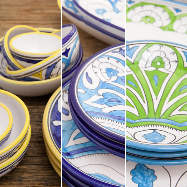 Sol plates and bowls in yellow, teal and blue.