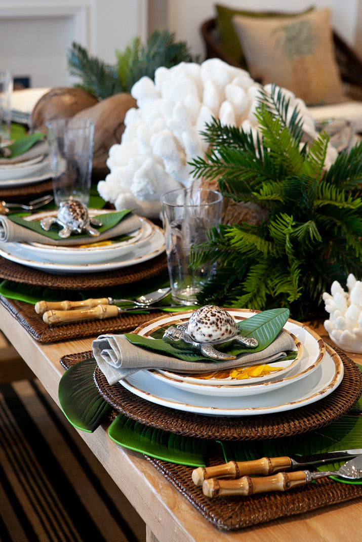 Close up of tropical table setting.