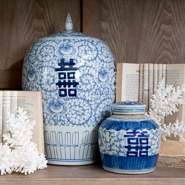 Two blue & white jars with coral and books.