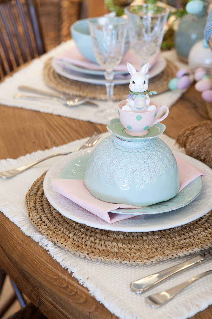 Close up of Easter dining table.