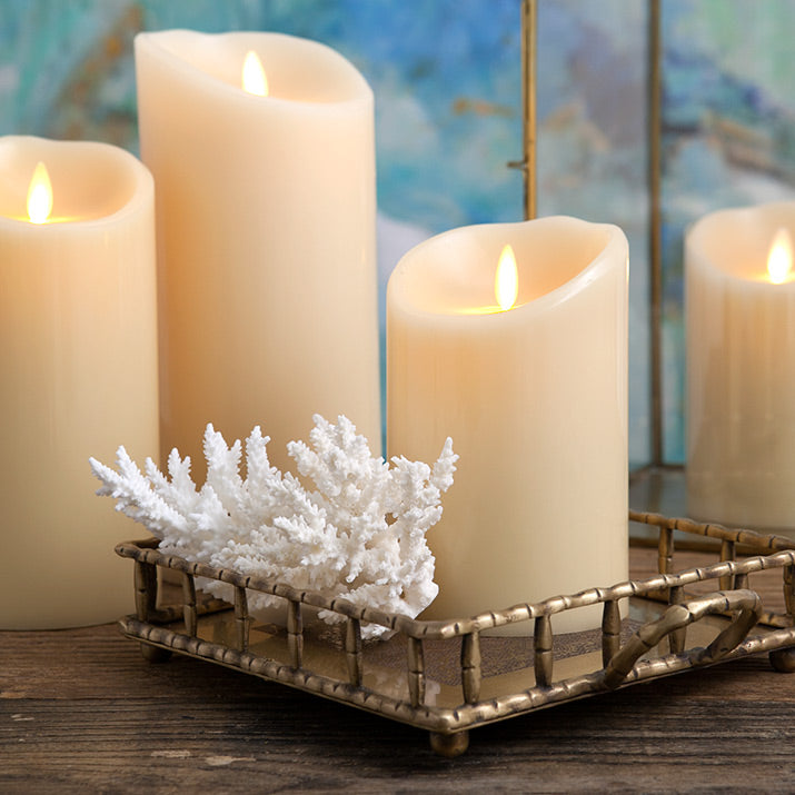 Gold flame luminara candles.