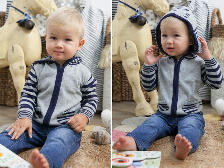 Grey and navy hoodie for kids.