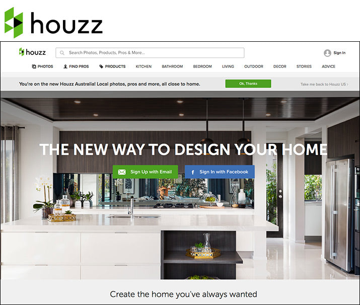 Screenshot of the Houzz website.