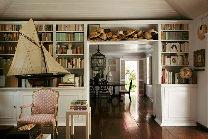 India Hicks' lounge room with library..