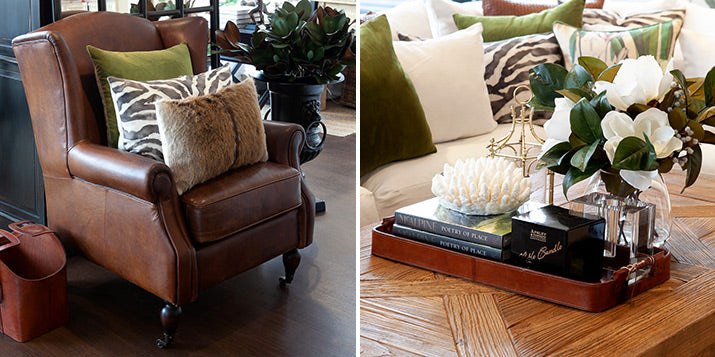 Leather armchair and leather tray on coffee table.