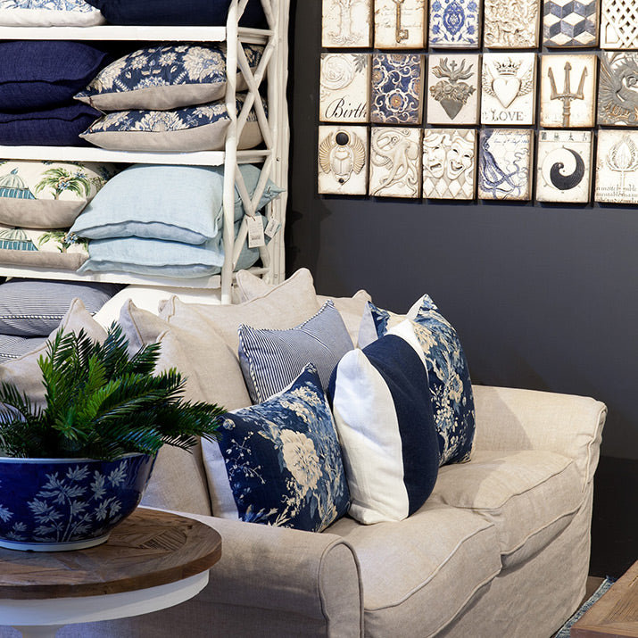 Blue and white cushions on lounge.