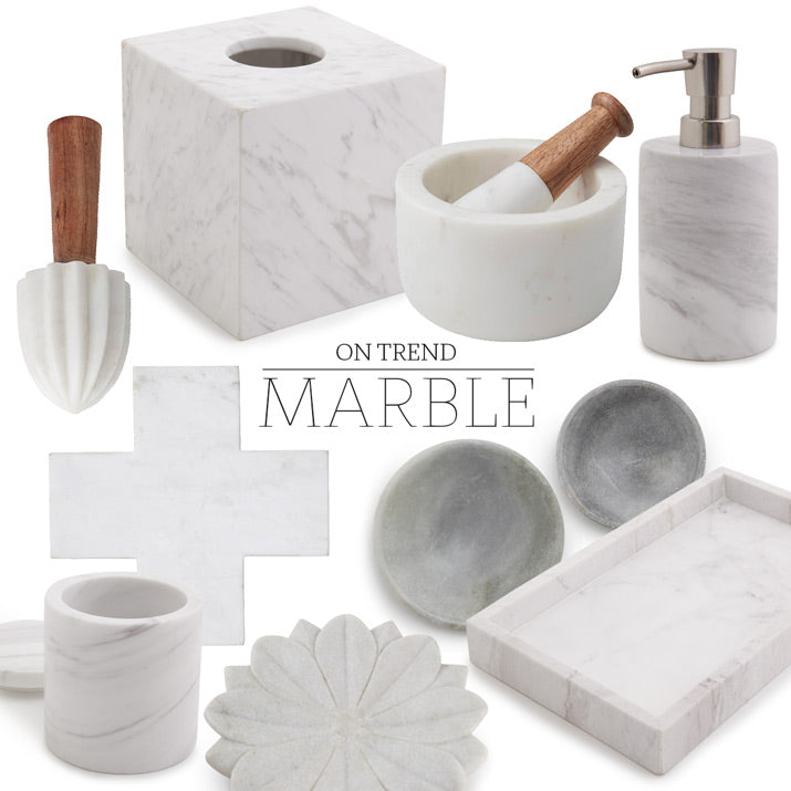 A collection of Alfresco marble products.
