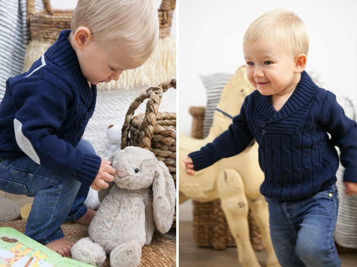 Cable knit navy jumper for kids.