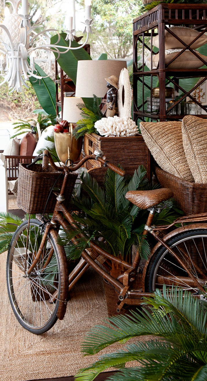 Brown rattan bike in Collaroy store windows.