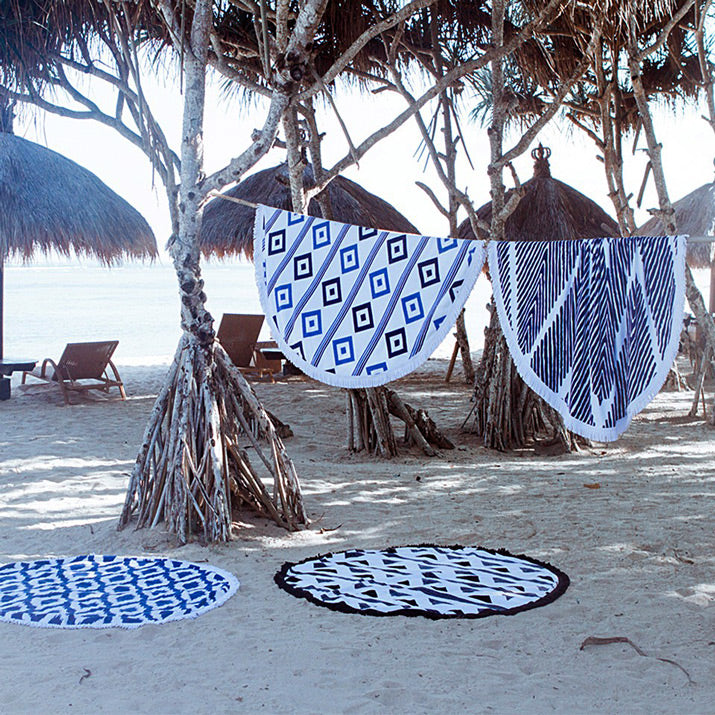 Blue and white round. cotton beach towels.