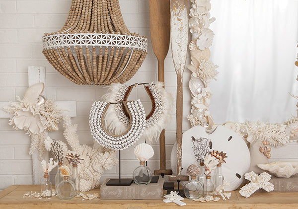 Rustic coral & shell display white.